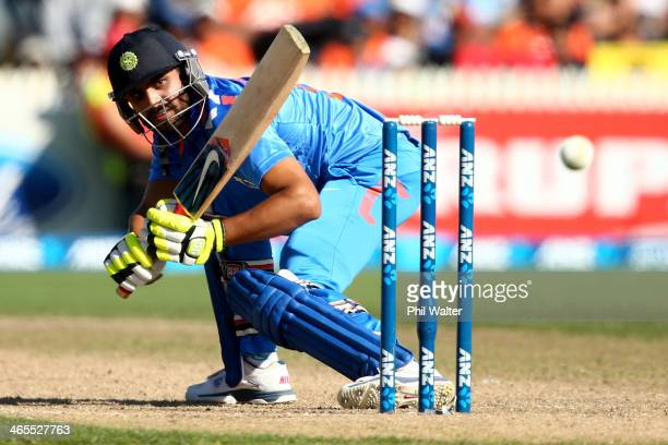 Ravindra Jadeja of India bats during game four of the men's one day international series between New Zealand and India at Seddon Park on January 28...
