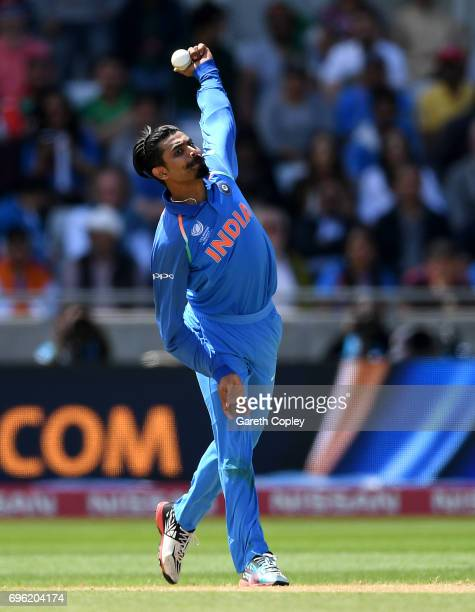 Ravindra Jadeja of India bowls during the ICC Champions Trophy Semi Final between Bangladesh and India at Edgbaston on June 15 2017 in Birmingham...