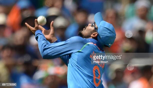 Ravindra Jadeja of India catches Fakhar Zaman of Pakistan during the ICC Champions Trophy final match between India and Pakistan at the Kia Oval...