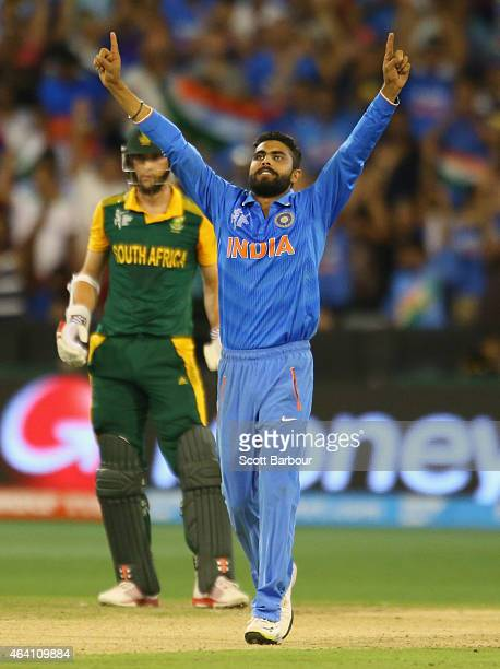 Ravindra Jadeja of India celebrates after dismissing Imran Tahir of South Africa to win the match during the 2015 ICC Cricket World Cup match between...