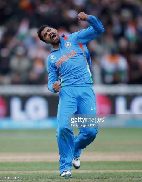 Ravindra Jadeja of India celebrates after dismissing Jos Buttler of England during the ICC Champions Trophy final between England and India at...