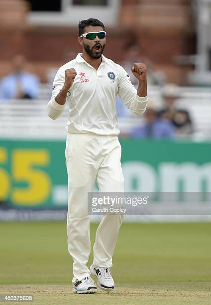 Ravindra Jadeja of India celebrates dismissing James Anderson of England during day three of 2nd Investec Test match between England and India at...