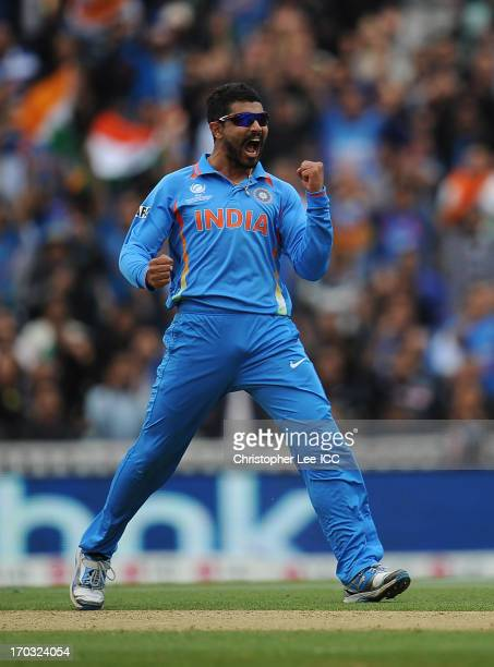 Ravindra Jadeja of India celebrates taking the wicket of Johnson Charles of West Indies during the ICC Champions Trophy Group B match between India...