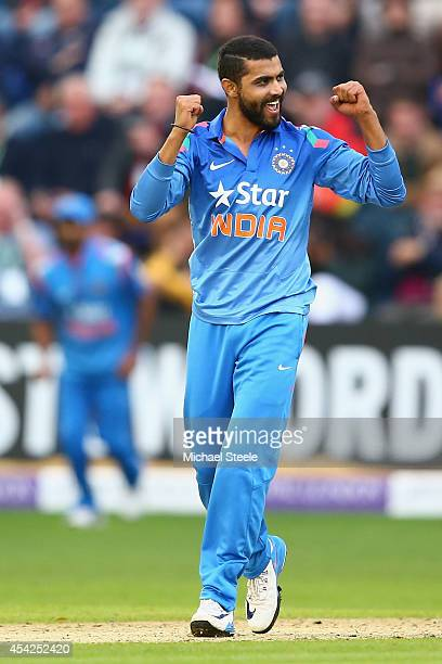 Ravindra Jadeja of India celebrates taking the wicket of Jos Buttler of England during the second Royal London OneDay Series match between England...