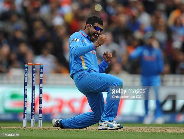 Ravindra Jadeja of India celebrates taking the wicket of Ravi Rampaul of West Indies and his fifth wicket of the innings during the ICC Champions...