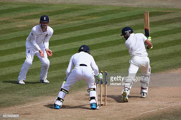 Ravindra Jadeja of India is bowled by Moeen Ali of England during day five of the 3rd Investec Test match between England and India at the Ageas Bowl...