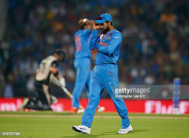 Ravindra Jadeja of India looks dejected after he nearly runs out Corey Anderson of New Zealand during the ICC World Twenty20 India 2016 Group 2 match...