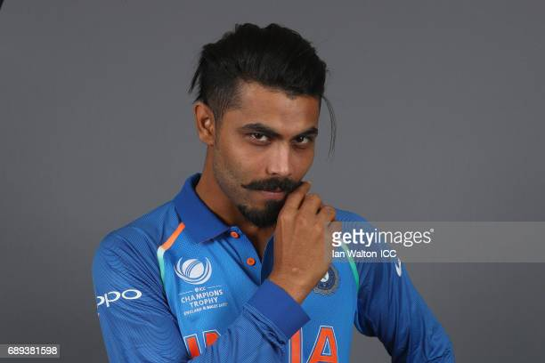 Ravindra Jadeja of India poses during an India Portrait Session ahead of ICC Champions Trophy at Grange City on May 27 2017 in London England