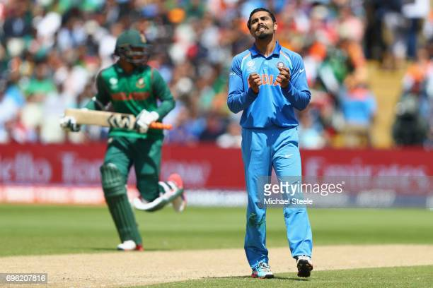 Ravindra Jadeja of India shows his frustration during the ICC Champions Trophy SemiFinal match between Bangladesh and India at Edgbaston on June 15...