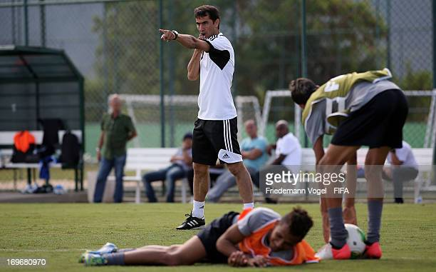 Ravshan Irmatov trains during the Workshop for Prospective Referees for the 2014 FIFA World Cup at the Zico training center on May 29 2013 in Rio de...