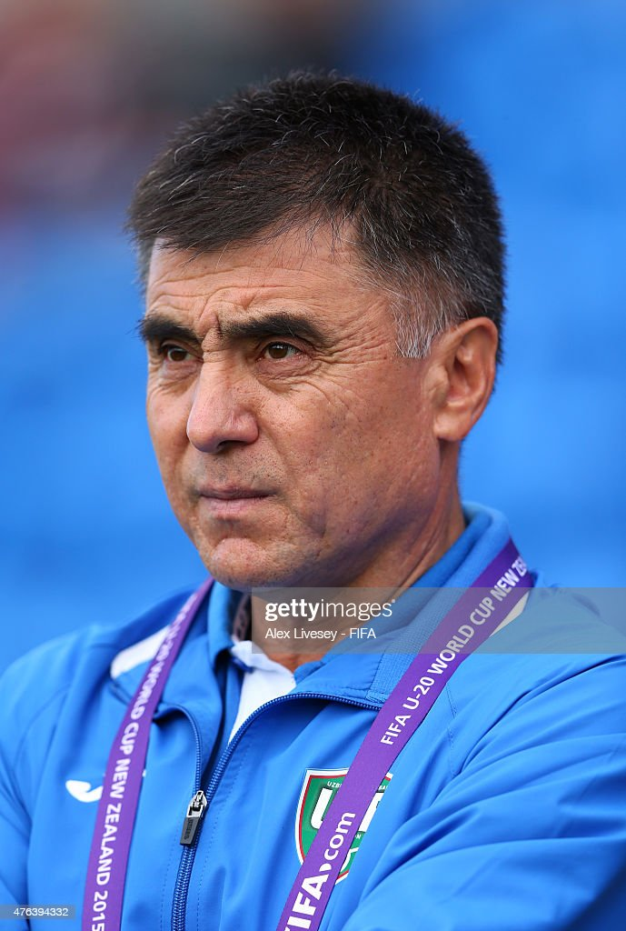 Ravshan Khaydarov the coach of Uzbekistan looks on during the FIFA U-20 World Cup Group F match between Fiji and Uzbekistan at the Northland Events Centre on June 7, 2015 in Whangarei, New Zealand.
