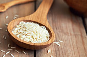 Raw uncooked basmati rice in wooden spoon. Copy space