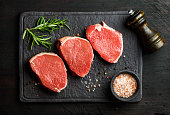 Raw beef Eye Round steaks with spices and rosemary on black slate stone board over dark wooden background, top view, horizontal composition