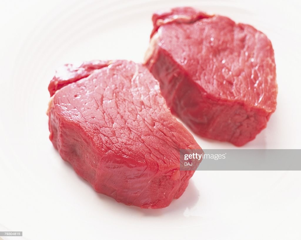 Raw beef (Tenderloin), high angle view