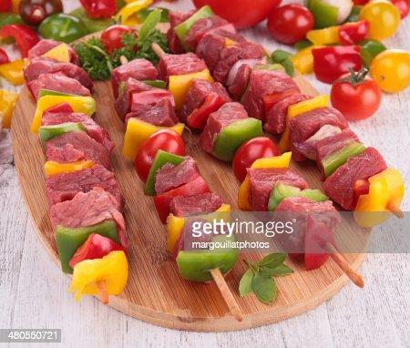 raw beef skewers : Stock Photo