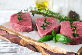 raw beef steak on a light wooden background with olive oil and spices.
