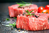Raw beef steaks with spices, herbs and cherry tomatoes, over dark slate.