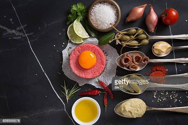 Raw beef with ingredients