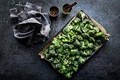 Fresh raw broccoli prepared for roasting