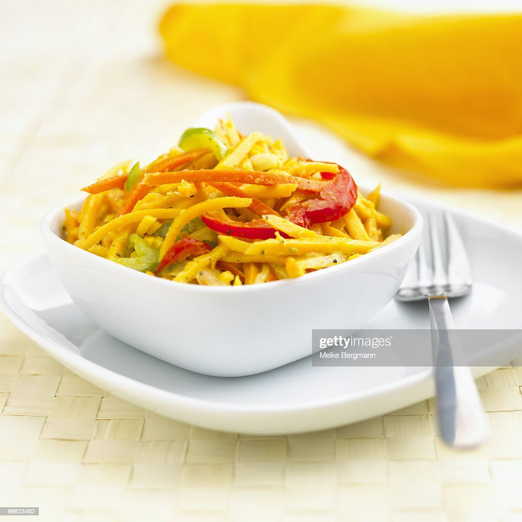 Raw butternut squash salad : Stock Photo