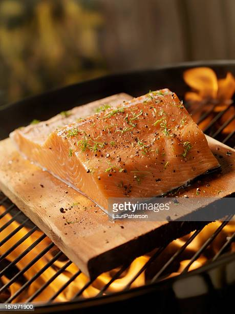 Raw Cedar Plank Salmon Fillets on an outdoor BBQ