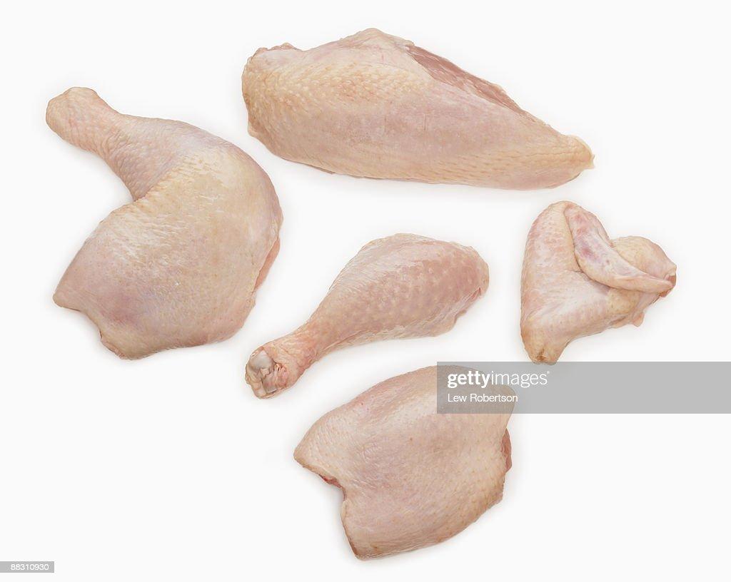 Raw chicken pieces : Stock Photo