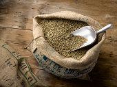 Raw Coffee Beans in Burlap Bag