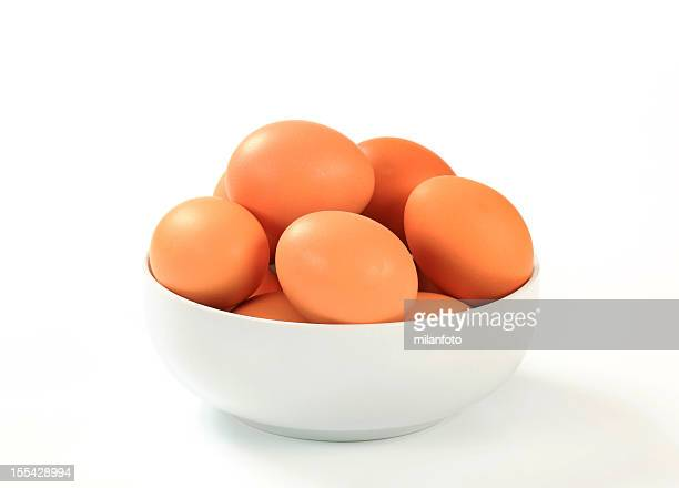 Raw eggs in a bowl