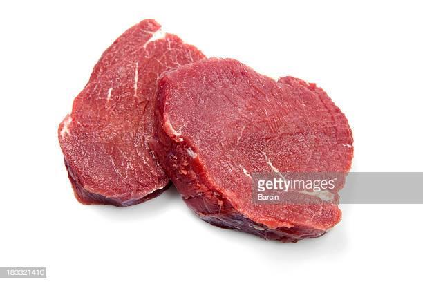 Bistecs de carne de res de la materia prima