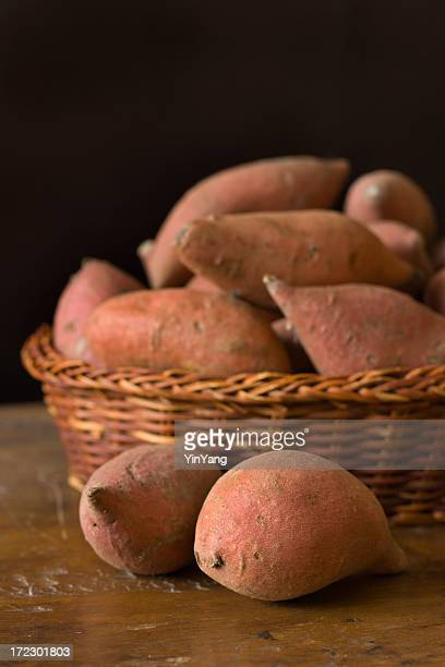 Raw Fresh Yams, Sweet Potato Vegetables in Basket Still Life