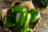 Raw Green Organic Bell Peppers Ready to Cook With