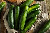 Raw Green Organic Cucumbers Ready for Eating