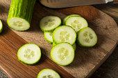 Raw Green Organic European Cucumbers Ready to Eat