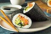 Raw Homemade Salmon Sushi Burrito with Seaweed Cucumber and Carrots
