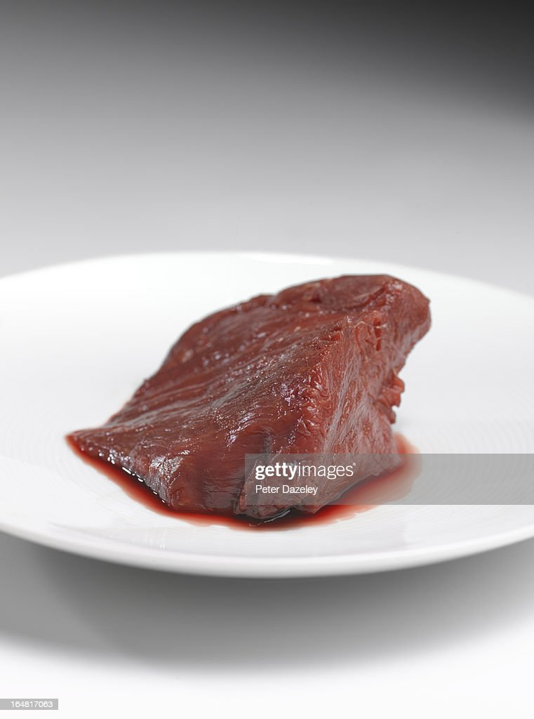 Raw horse meat on plate