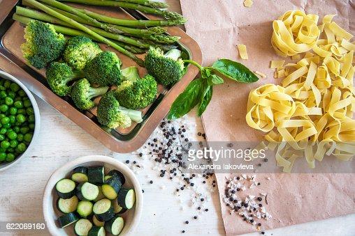 Raw ingredients for vegetarian pasta