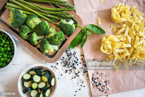 Raw ingredients for vegetarian pasta