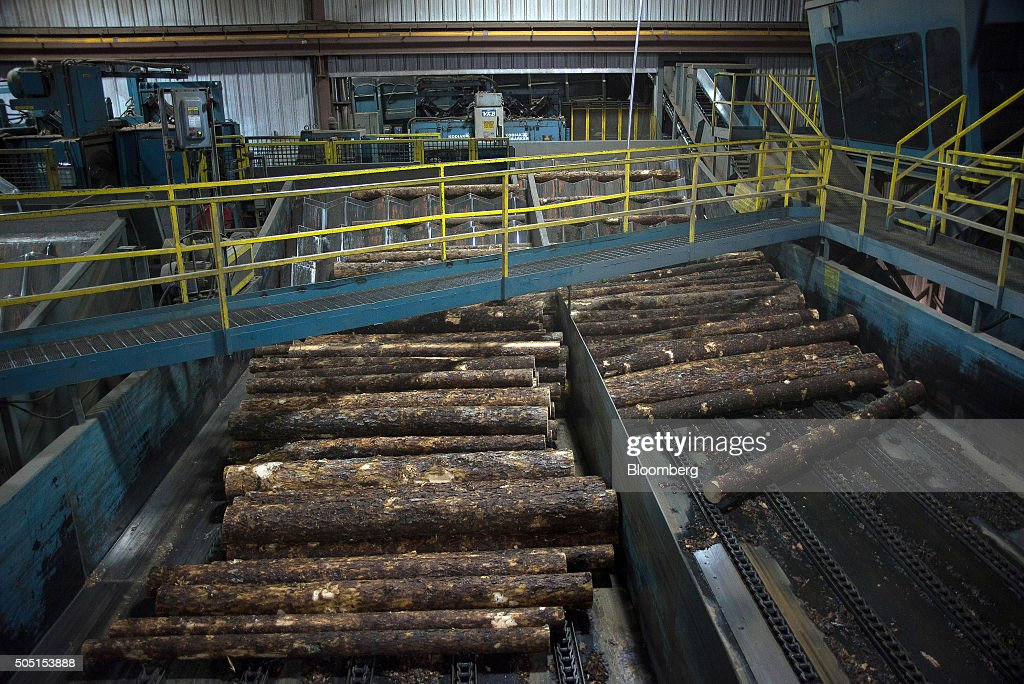 Raw lumber moves into the saw mill at the Resolute Forest Products facility in Thunder Bay Canada Ontario on Friday Jan 8 2016 Resolute Forest...