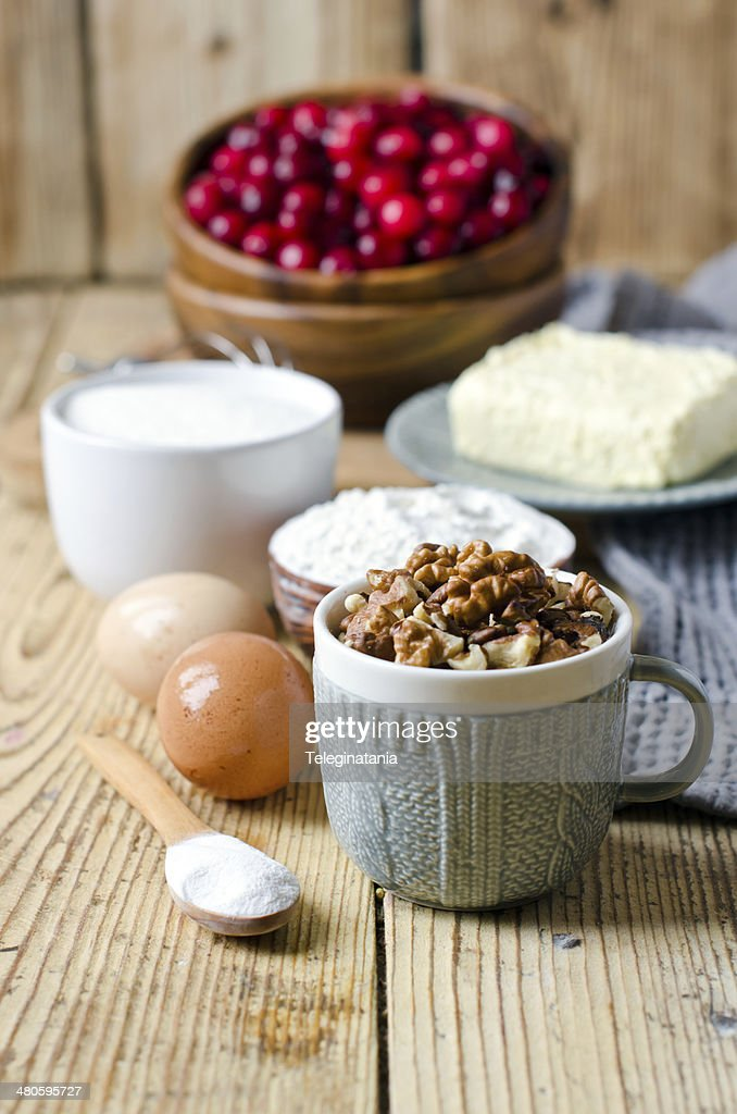 Raw materials for baking with cranberries : Stock Photo