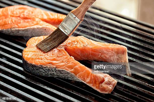Raw meat on the grill