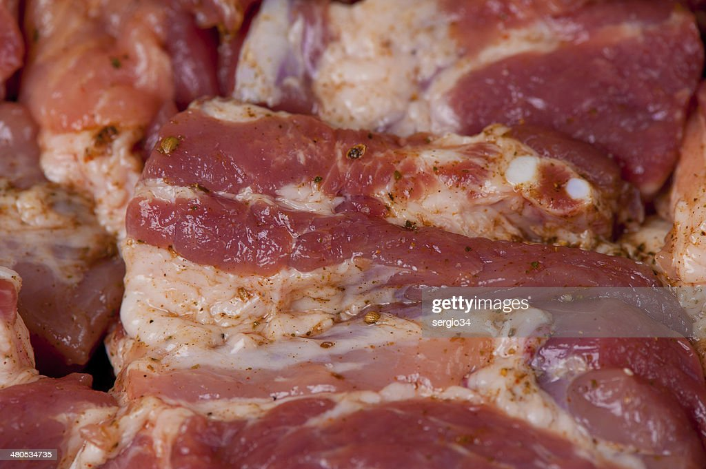 raw meat with  seasoning : Stock Photo