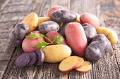 raw multicolored potato