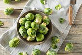 Raw Organic Green Brussel Sprouts Ready to Cook With
