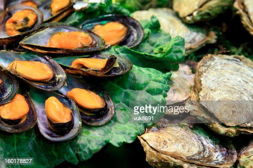 Raw oysters on the market : Stock Photo