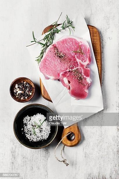 Raw pork loin chop