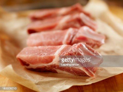 生豚ロース肉のカントリースタイルのリブ