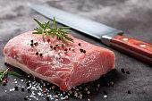 Raw pork loin with spices'n'n