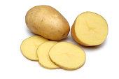 Raw Potato Full body and Freshly cut Isolated on white