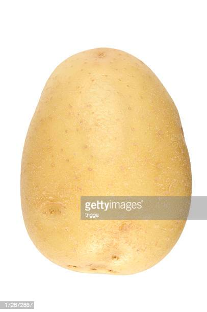 A raw potato isolated on a white background
