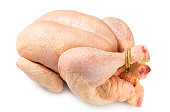 Raw poultry over white background